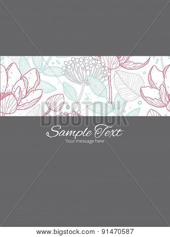 Vector modern line art florals stripe frame vertical card invitation template