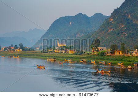 River at sunrise in the National Park of Phong Nha Ke Bang, Vietnam