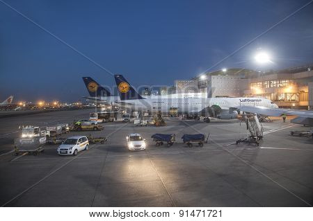 Lufthansa Flight At The Gate For Morning Flight In Frankfurt