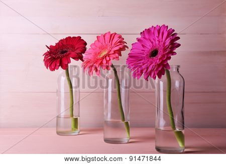 Beautiful bright gerberas in glass vases on wooden background