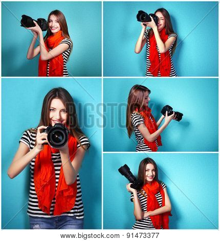Collage of young female photographer on blue background