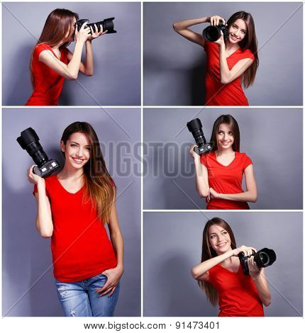 Collage of young female photographer on grey background