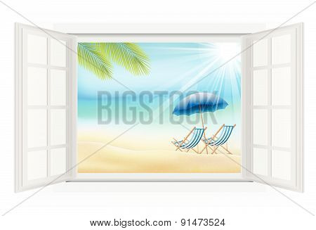 Daytime with summer background on beach