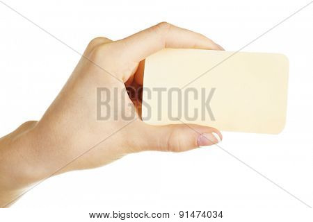Hand holding business card, isolated on white