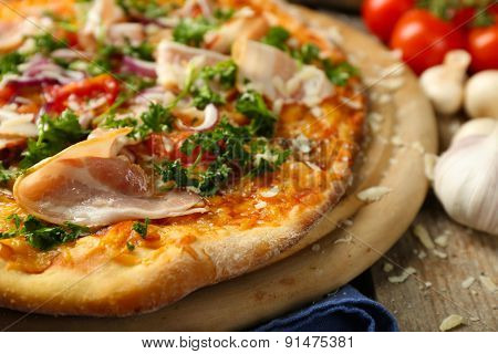Tasty pizza on table close up