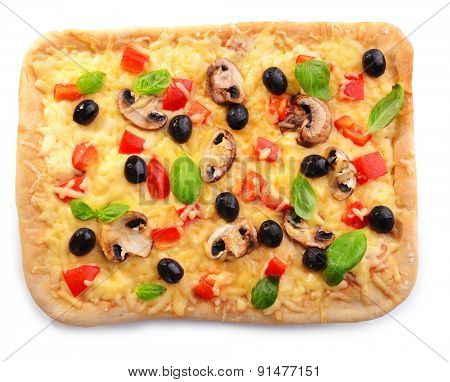 Delicious homemade pizza isolated on white
