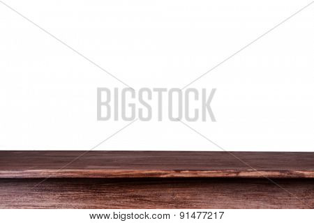 Empty wooden table with white background