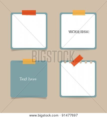 Collection of note papers, ready for your message. Vector illustration.