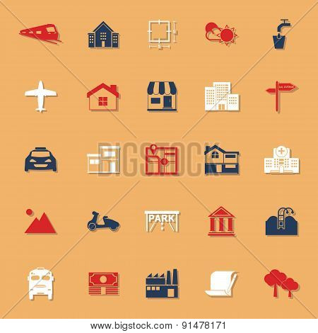 Real Estate Classic Color Icons With Shadow