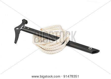 Ice axe and rope isolated on white background