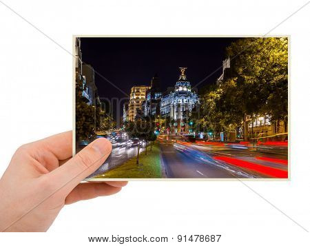 Madrid Spain photography in hand (my photo) isolated on white background