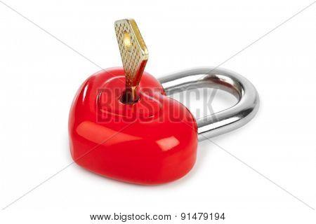 Heart shaped lock and key isolated on white background