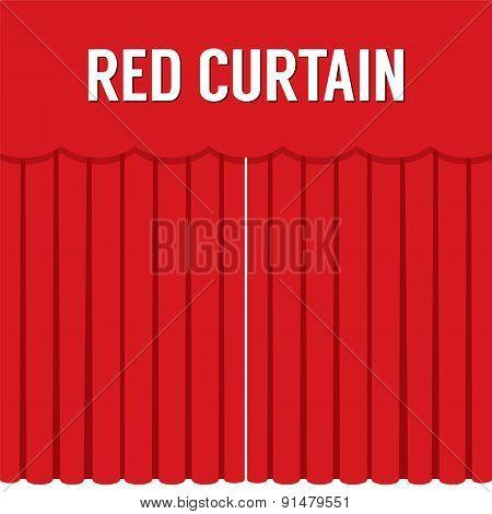 Flat Design Red Curtain.
