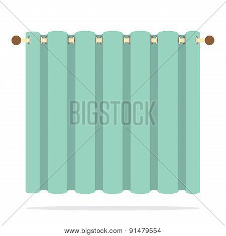 Green Curtain On White Background.