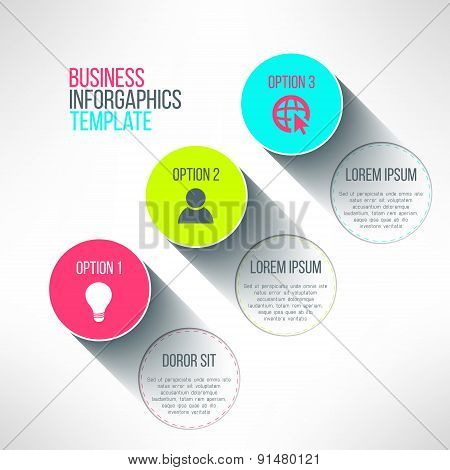 Vector infographic circle boards modern flat design. Text labels and icons with long shadows suitabl