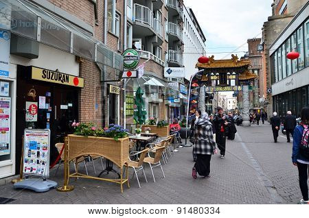The Hague, Netherlands - May 8, 2015: People Visit China Town In The Hague