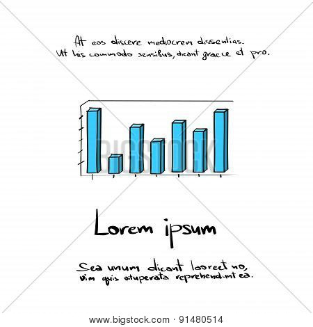 Graph Vector Bar Hand Draw Color Icon