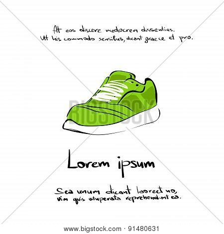 Sneaker Sport Shoe Hand Draw Color Icon