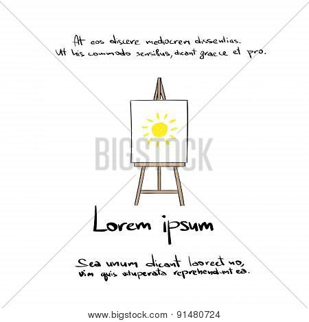 Easel Hand Draw Color Icon Vector