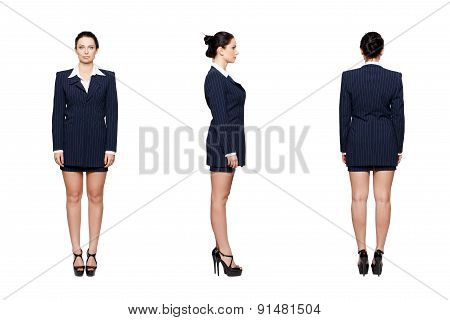 Businesswoman Front Side Rear View