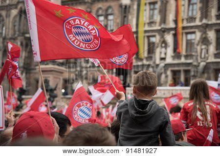 Fans celebrating for FC Bayern winning the Bundesliga title