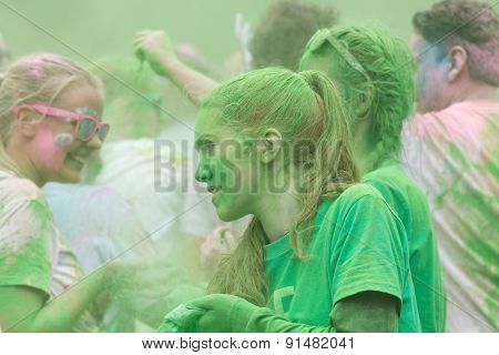 Girl Covered With Green Color Powder