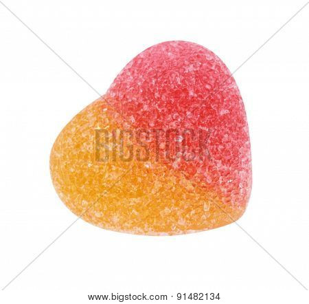 Fruit Jelly With Heart Shape Isolated