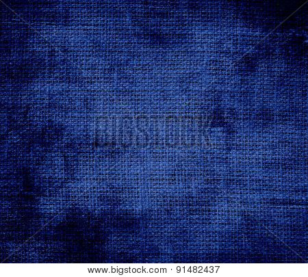 Grunge background of catalina blue burlap texture