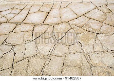 Drought, Dry And Cracked Land With Salt Deposits