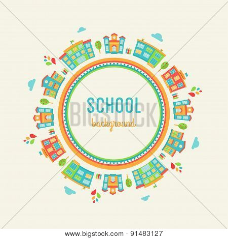 Preschool and School Education Background. Round Sign Made of School Buildings