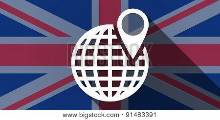 United Kingdom Flag Icon With A World Globe