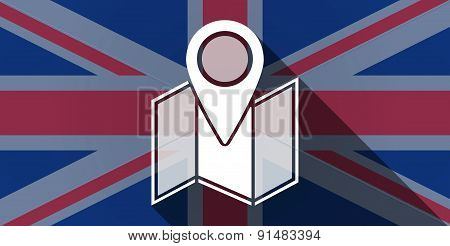United Kingdom Flag Icon With A Map