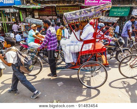 Indian Men Uses The Rickshaw For Transportation In Old Delhi