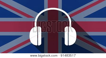 United Kingdom Flag Icon With A Earphones