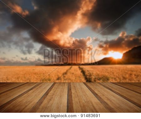 Golden Wheat Field Under Dramatic Stormy Sky Landscape With Wooden Planks Floor