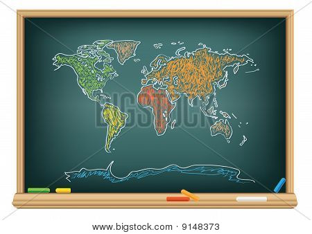 Drawing World Map By A Chalk