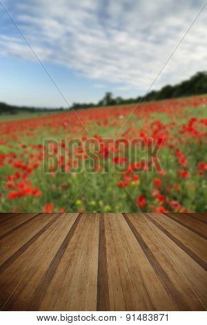 Stunning Poppy Field Landscape Under Summer Sunset Sky With Wooden Planks Floor