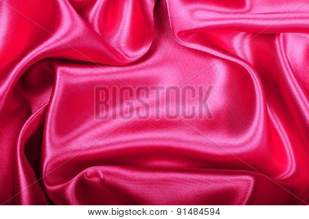 Smooth Elegant Red Silk Or Satin Texture As Background