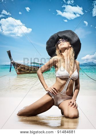 Beautiful woman on the beach. Thailand.