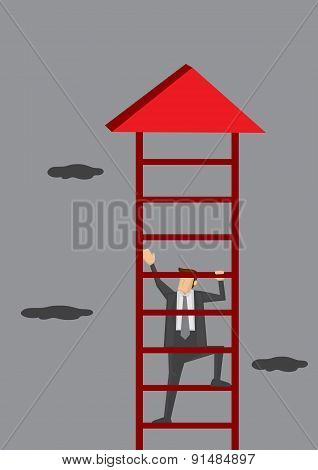 Businessman Climbing Corporate Ladder Conceptual Vector Illustration