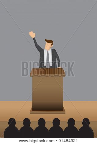 Professional Man Public Speaking At Lectern Vector Illustration
