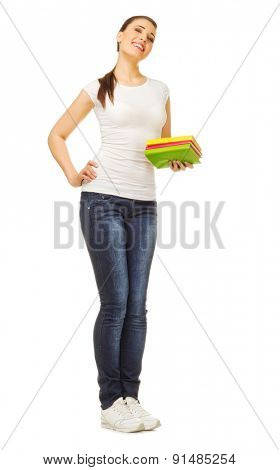 Young girl with books isolated