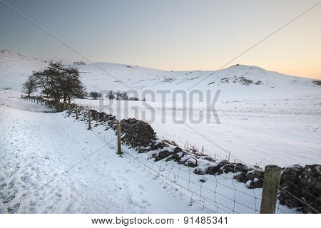 Beautiful Winter Landscape Over Snow Covered Winter Countryside Sunrise