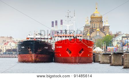 Big Cargo Ships Stand Moored On The Neva River
