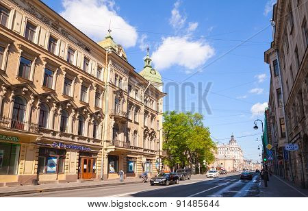 Street View On Central Part Of St.petersburg