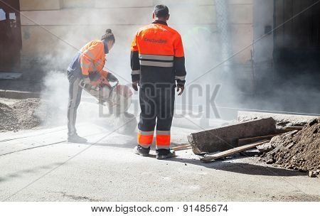Men At Work, Urban Road Under Construction