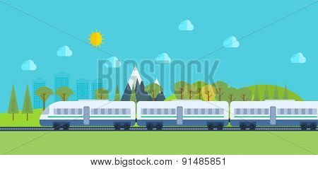 Train on railway with forest and mountains background.