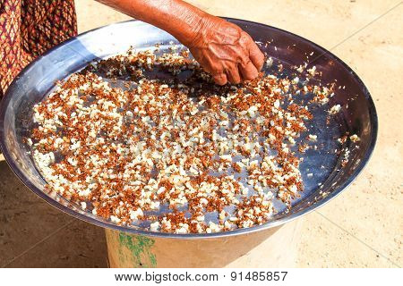Old Woman Select Red Ant And Egg, Thai Food Cooking Fried Red Ant And Egg