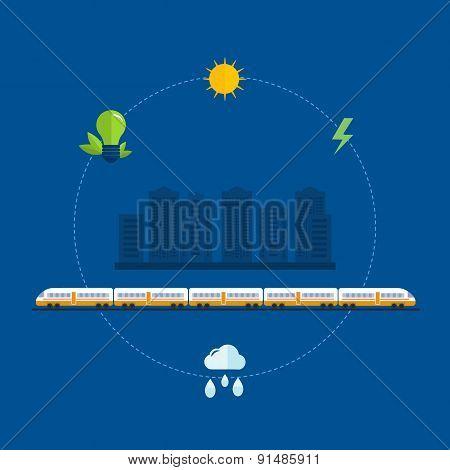 Flat design modern vector illustration icons set of urban landscape, train on railway
