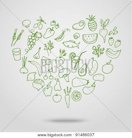 Healthy food green heart